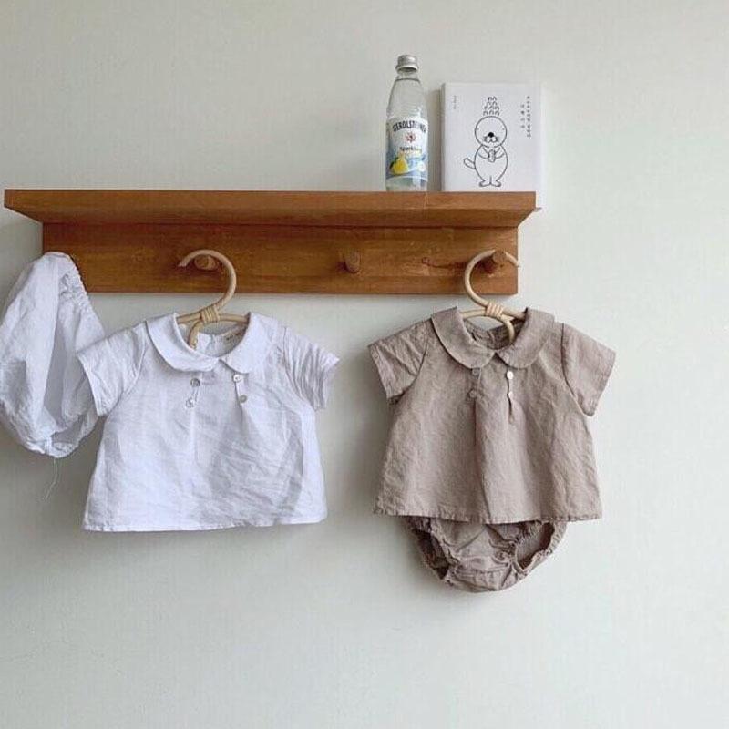 MILANCEL الصيف الملابس طفل المحملات طوق بيتر بان والسراويل ص 2 قطعة ملابس الفتيات باختصار بدلة طفل Y200323