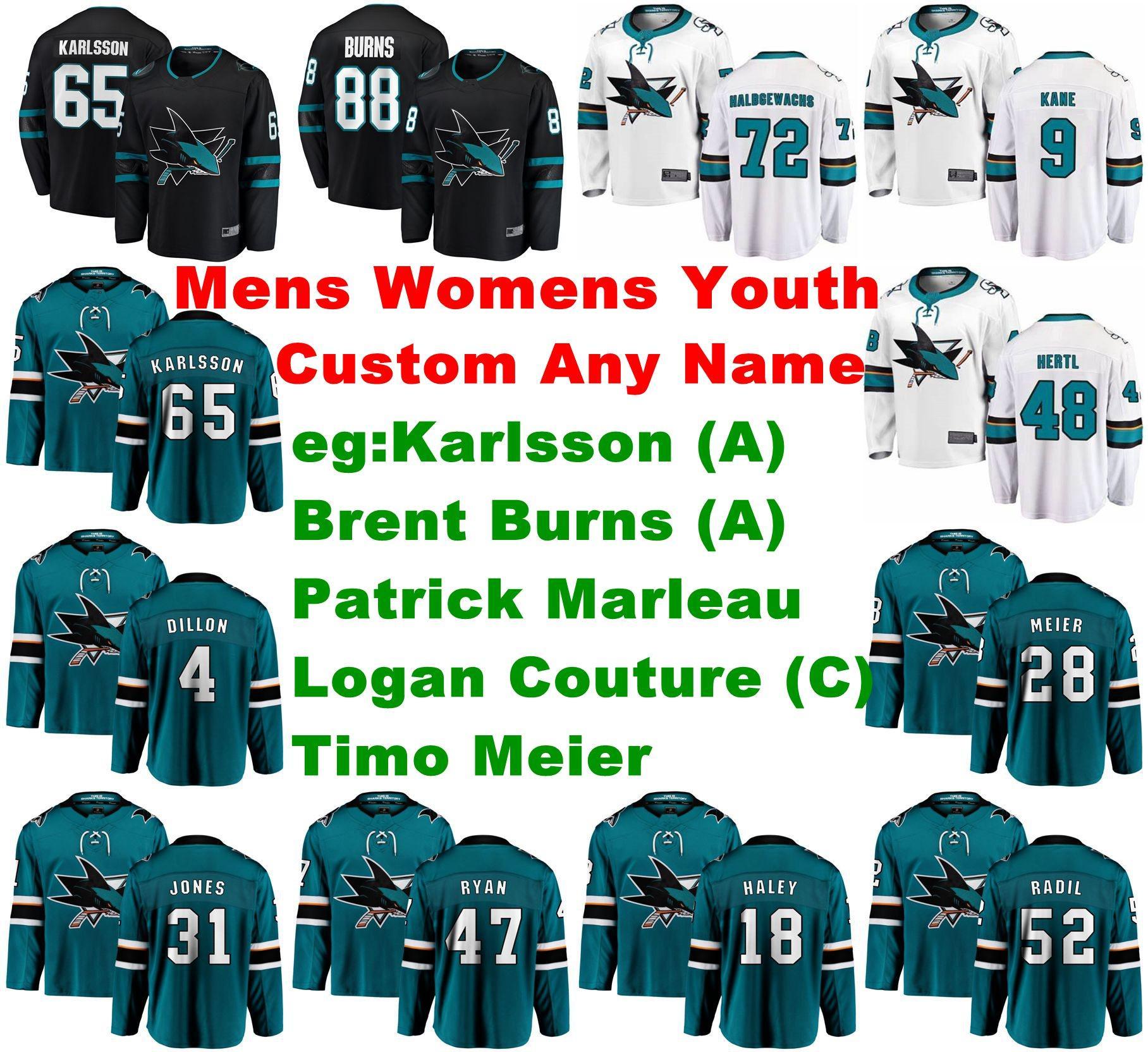 San Jose Sharks jerseys Erik Karlsson Jersey Brent Burns Timo Meier Patrick Marleau Logan Couture de hockey sobre hielo de los jerseys para hombre cosido Personalizar
