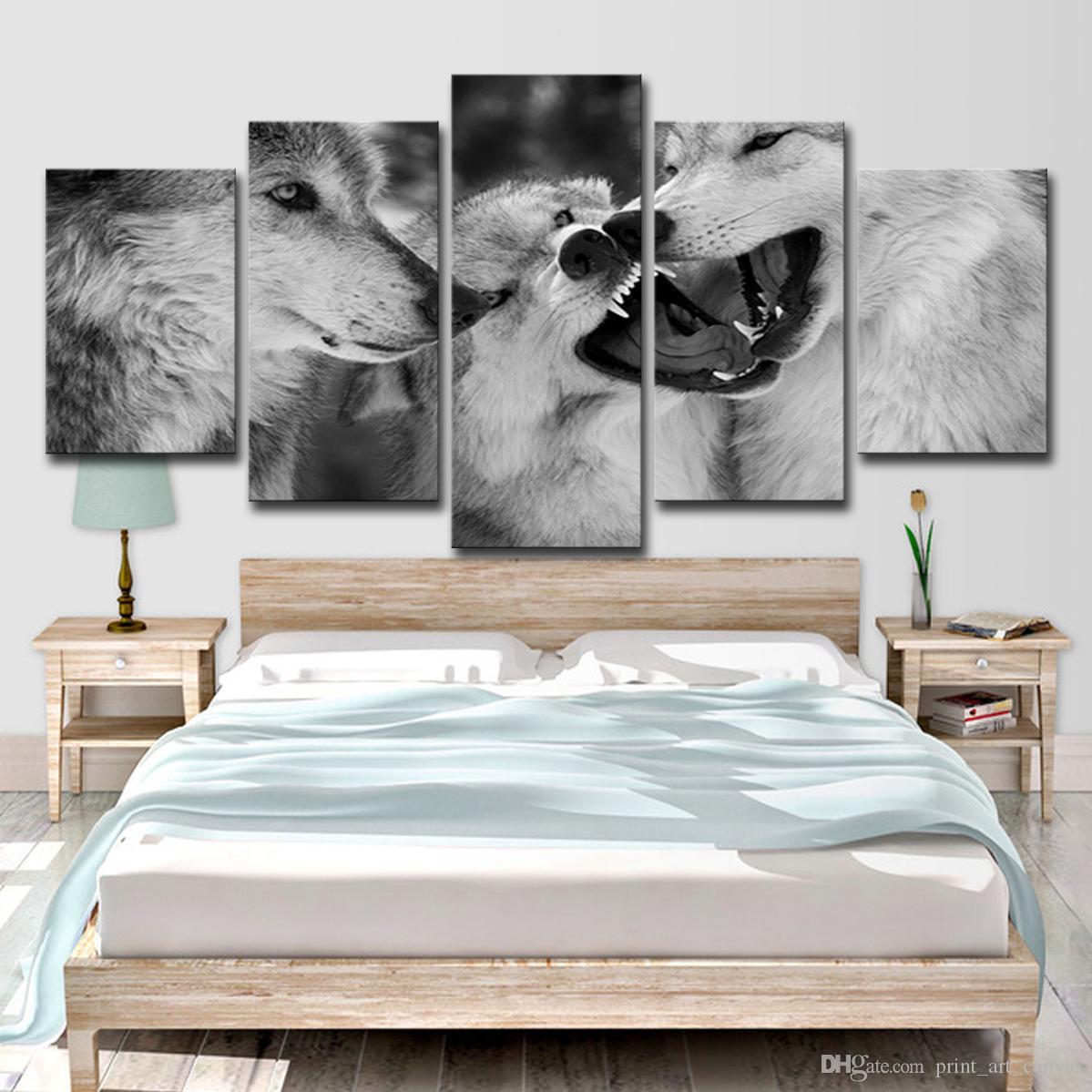 HD Impresso 5 Peça da lona de Arte Lobo Branco Pinturas Preto e Branco Retratos Da Parede Para Sala de estar Frete Grátis