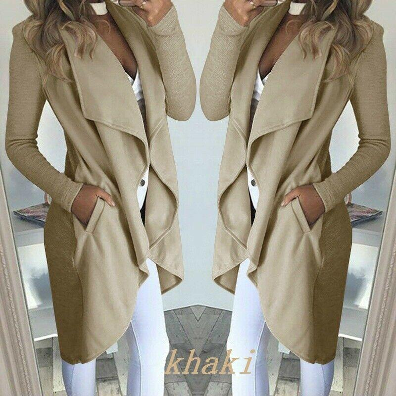 Womens Long Sleeve Turn-Down Collar Longo Cachoeira Trench Jacket Ladies Cardigan Overcoat Jumper Plus Size Outono Inverno