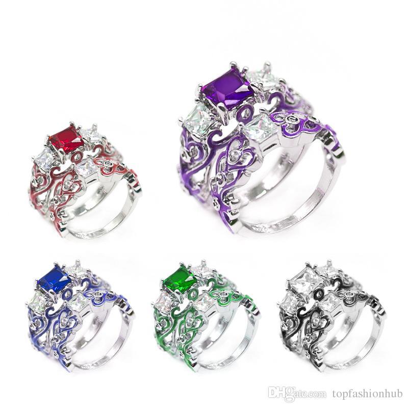 Zircão das Mulheres de luxo Praça de Diamante Liga Anel de Epóxi Banhado A Prata Venda Quente Anel Set Casal Anel