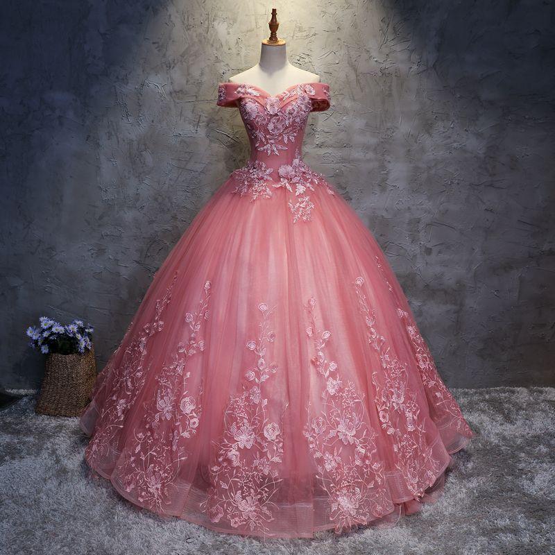 2020 Quinceanera Dresses appliques Elegant Beautiful Vestidos De Party Prom Formal Floral Print Ball Gowns Vestidos De 15 Anos QC1468
