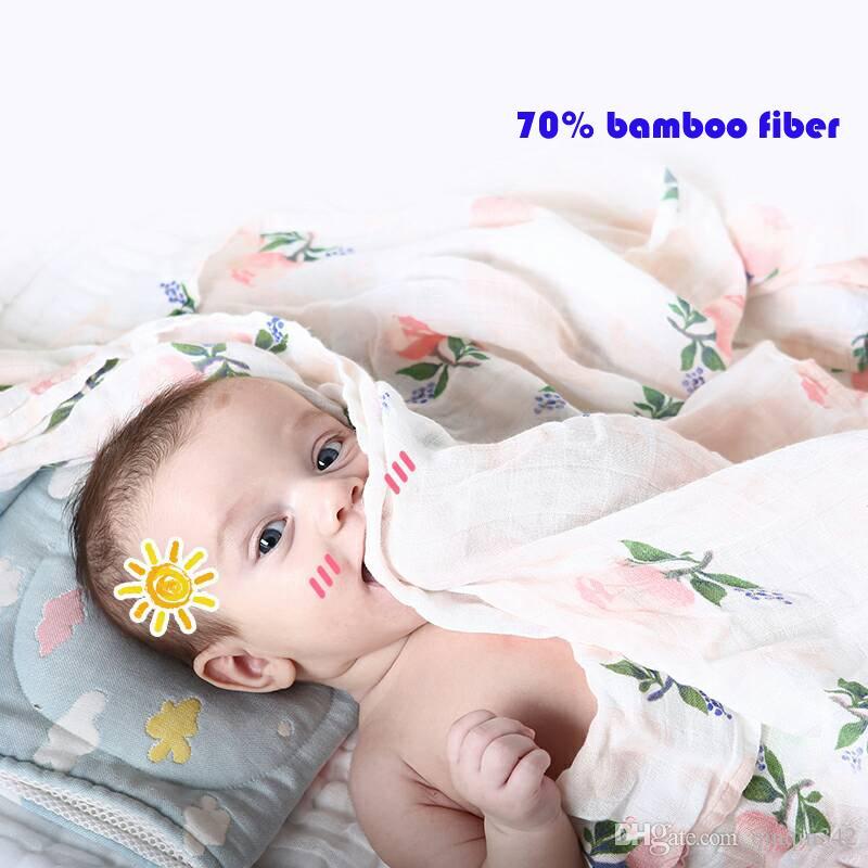 70% Bambusfaser Baby Musselin Swaddles Weiche Babydecken Neugeborenes Bad Schlafsack Kinderwagenhülle Spielmatte Babywickel deken