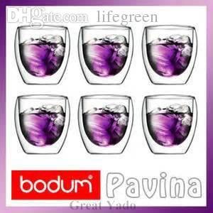 Großhandels-Set 6pcs Bodum Pavina Double Wall Thermoglasschalenbecher für Tee / Espresso / Wodka 80ml