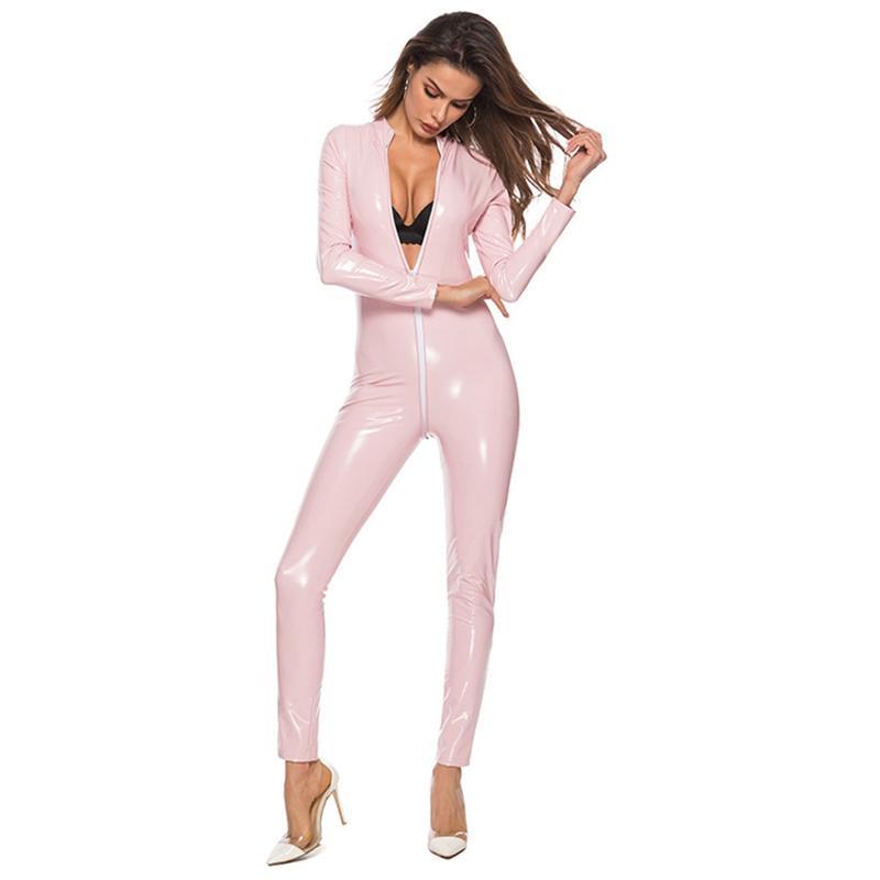 2019 Sexy Lingerie Sıcak Kadınlar Faux Deri Catsuit PVC Lateks Bodysuit Ön Fermuar Açık Kasık Streç Bodystocking Erotik Kostüm