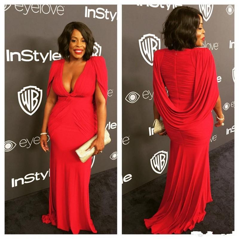 Niecy Nash Red Golden Globe Red Survey Evening Dress with Cape Mirmeymore Shiffon Deep V-Neck Plus Women Formal Party Goons
