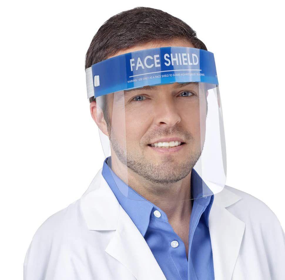 أقنعة قناع درع الوجه المضادة للضباب عزل الكامل واقية مع مطاطا الفرقة الإسفنج عقال HD شفافة حماية PET المضادة سبلاش الغبار