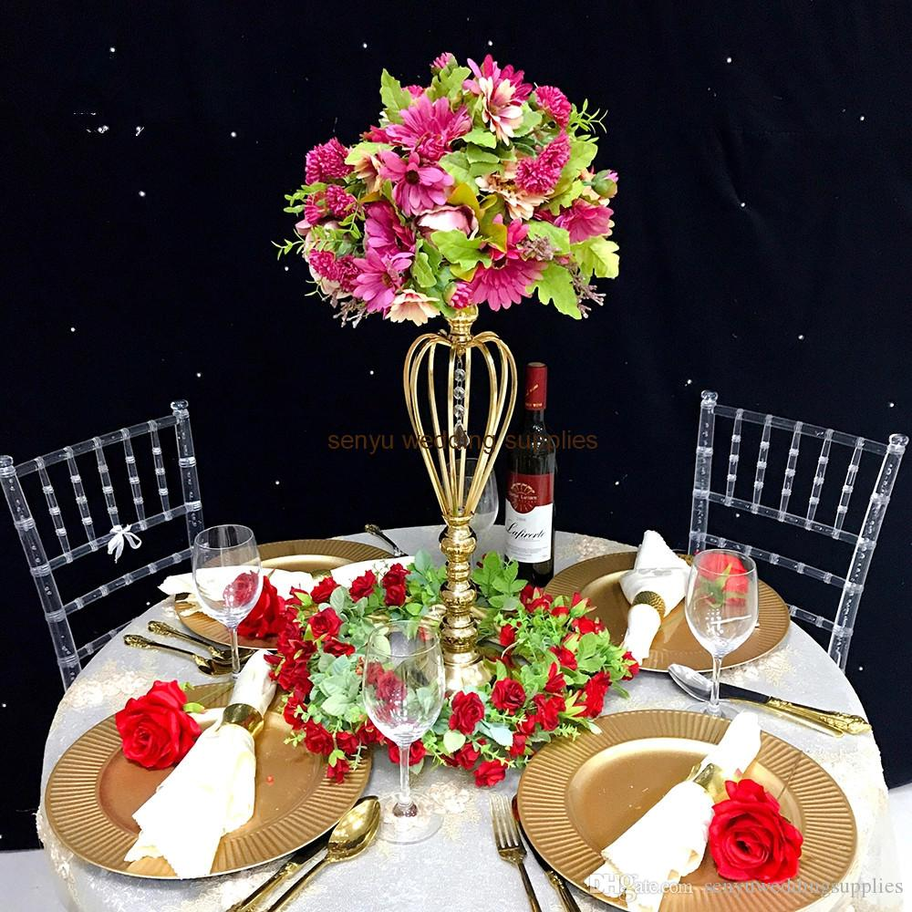 New style gold mental hotsale pillar walkway as flower stand hangging crystal aisle decor for wedding&party decoration senyu0212