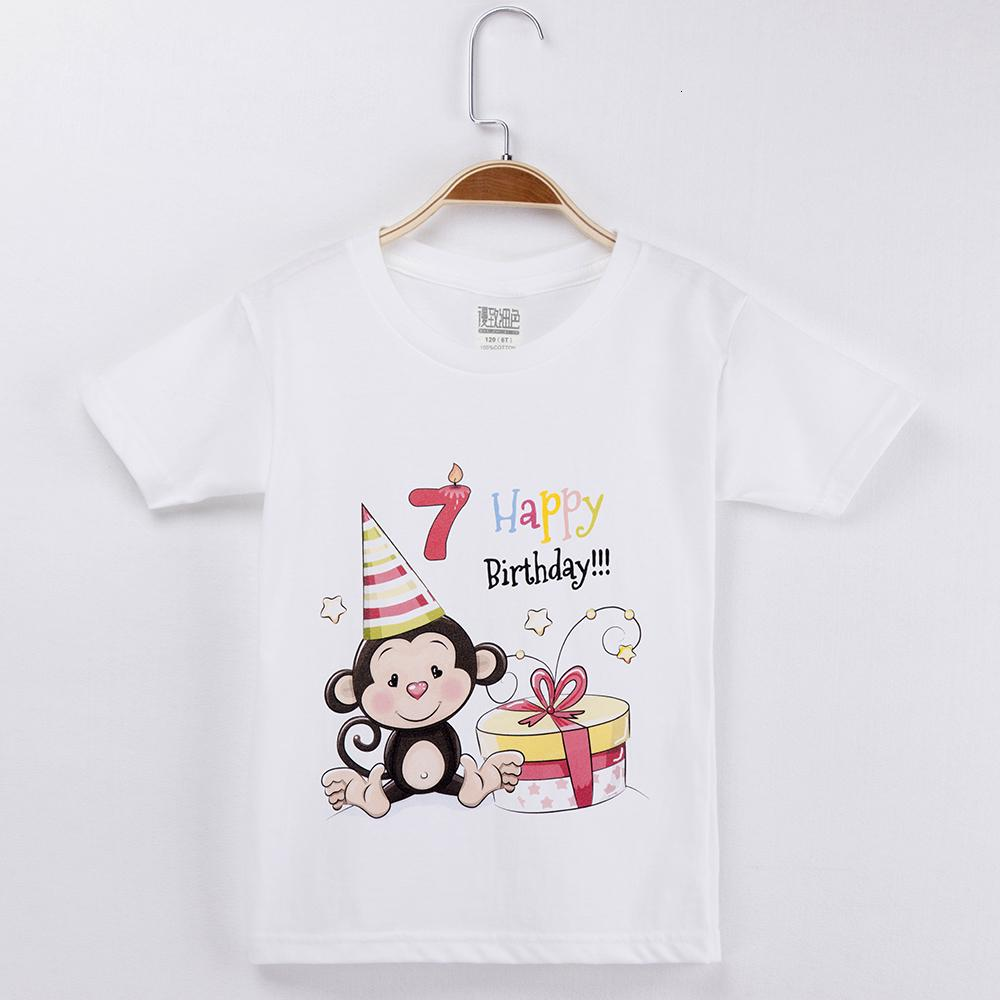 2019 KAWAII القرد T قميص تاريخ الميلاد الملابس للبنين 100٪ قطن كارتون أطفال مجموعة ملابس طفلة قمم قمصان الأطفال العلامة التجارية T191013