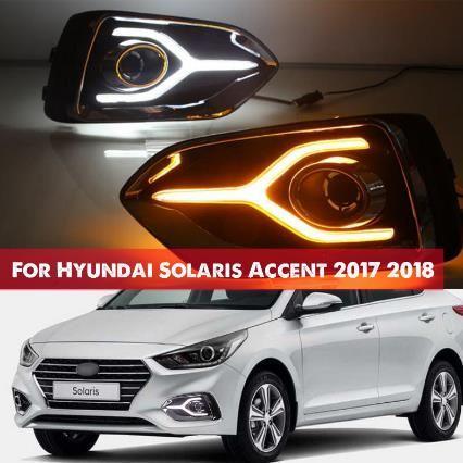 Hyundai Solaris Accent için 2017 2018 12V LED Araç DRL Gündüz çevirin Sarı Sinyal tarzı Röleli Işık sis lambası Koşu