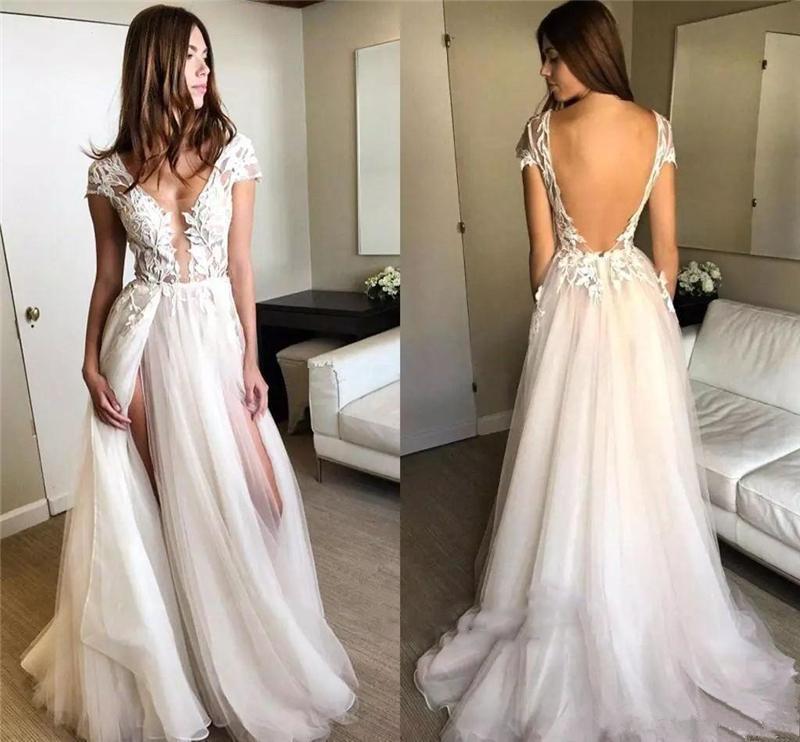 V Wedding elegante do laço Vestidos Sexy Pescoço Manga Backless Appliqued Praia vestidos de noiva Com Duplo alta Dividir Suave Tulle vestidos de casamento
