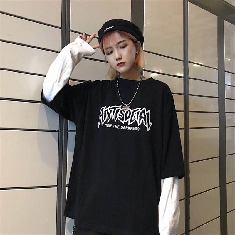 Lettre Refroidir Imprimer le Japon Harajuku Hip Hop blanc noir T-shirts Hommes Femmes Printemps faux deux pièces à manches longues en vrac T-shirt femmes CY200518