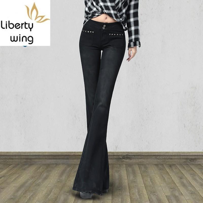 New Brand Frauen Jeans Vintage-Fest Denim Wide Leg Hose Weibliche elegante Slim Fit Schwarz Flare Pants Plus Size 25-32