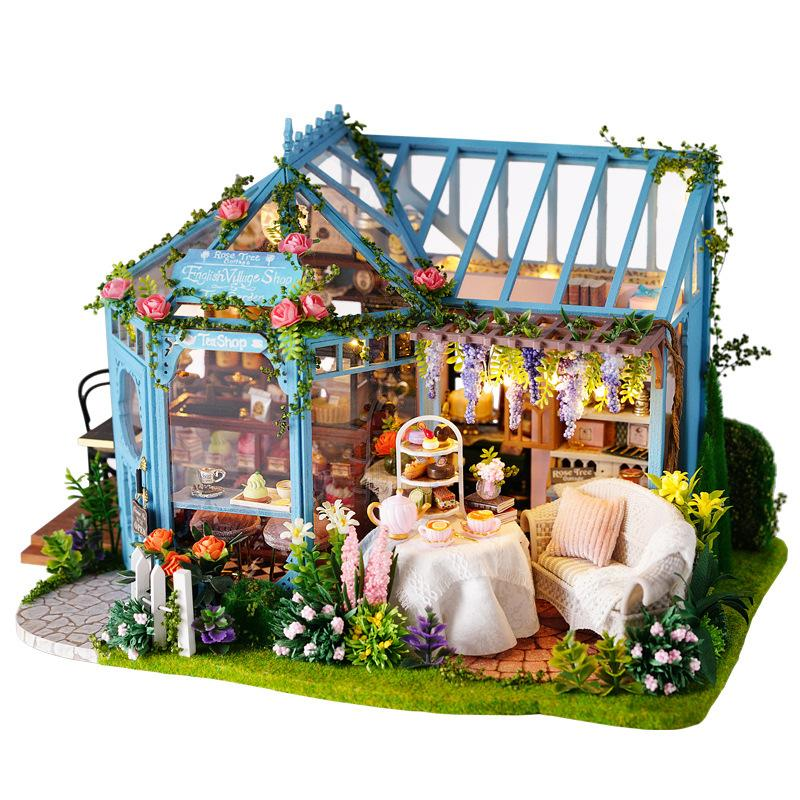 2020 Dy1004 Cabin Rose Garden Tea Home Handmade Assembly Toy Small
