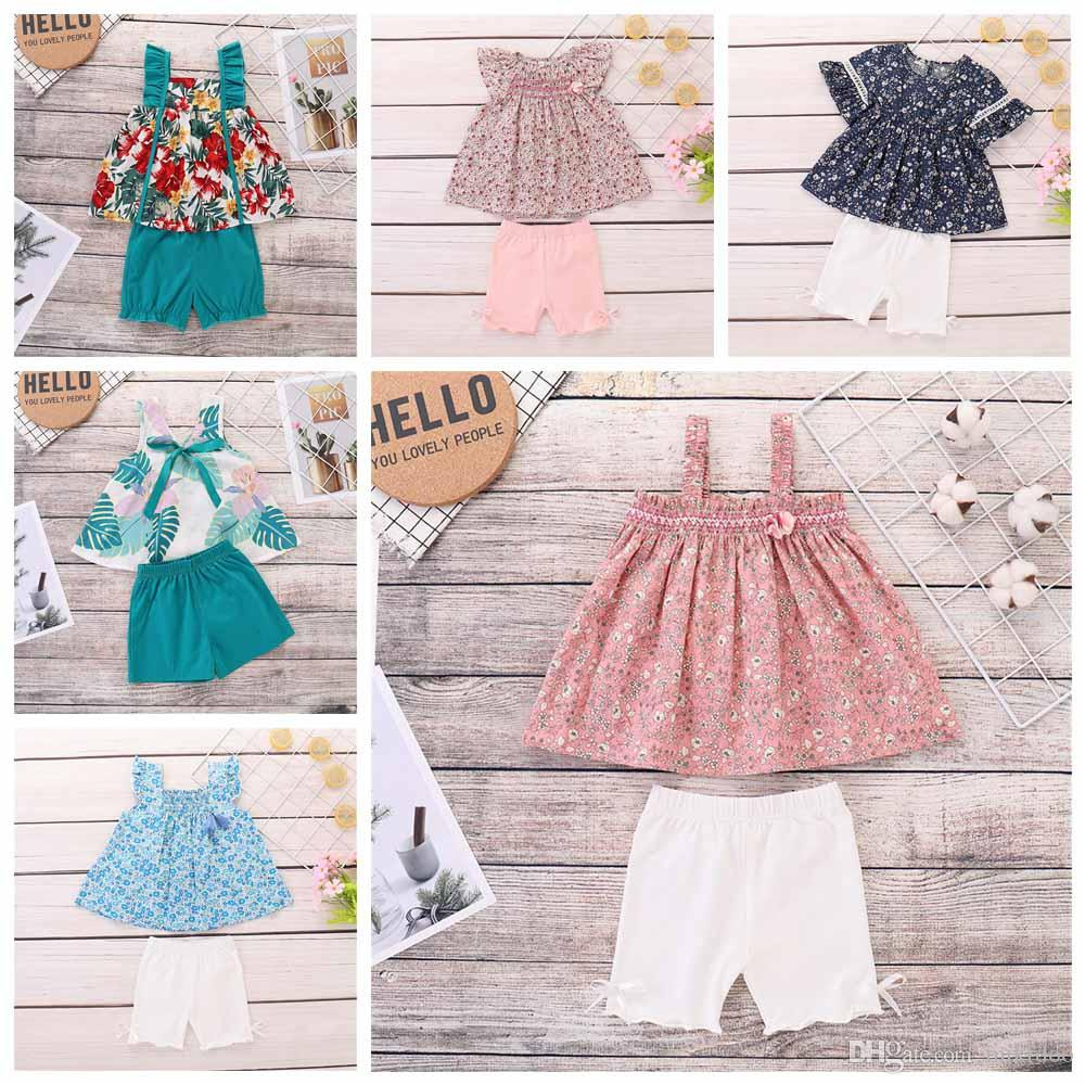 Mikirdoo bebê Crianças Floral Meninas Imprimir Summer Fashion Clothse Set sem mangas ou de manga curta Top + Curta Pant bowknot 2PCS Outfit