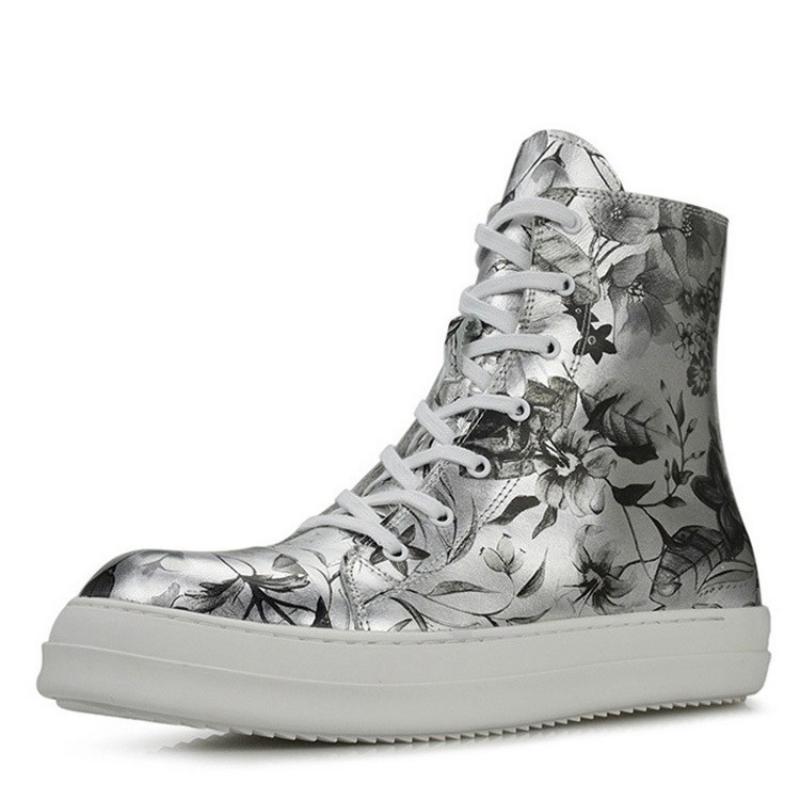 Натуральная кожа высокого Top Flats Обувь Мужчины Платформа Ботильоны Hip Hop Streetwear Дизайнер Printed Zip Кроссовки Botas Masculina