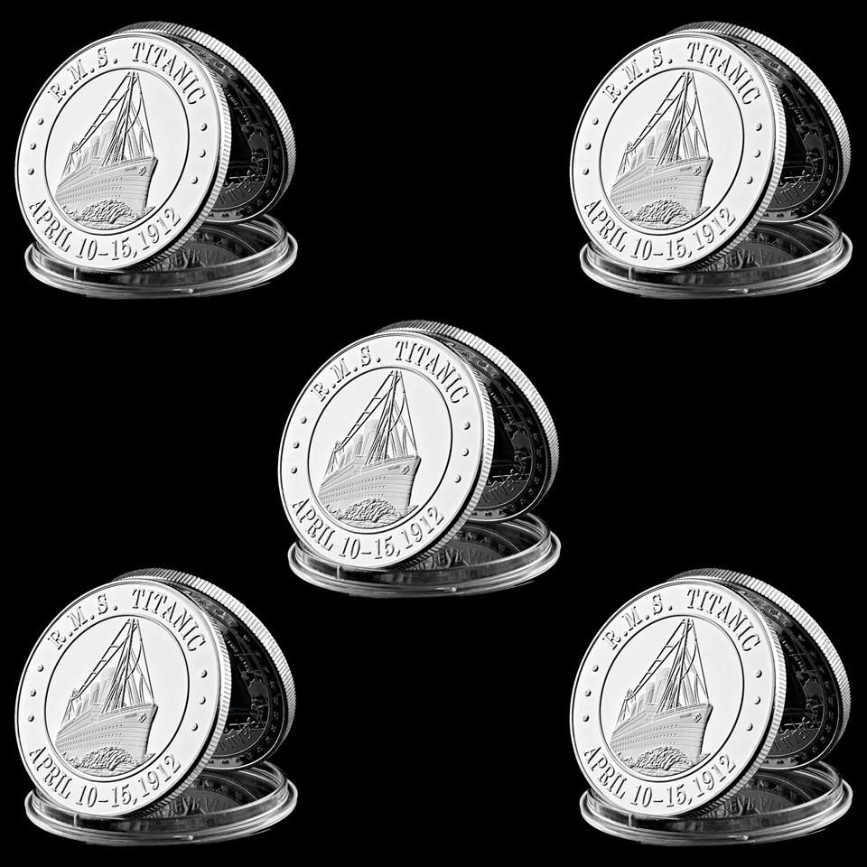 5pcs 1912 R.M.S Titanic Victim 1Oz White Star line Silver Plated Commemorative Coin With Capsule Display