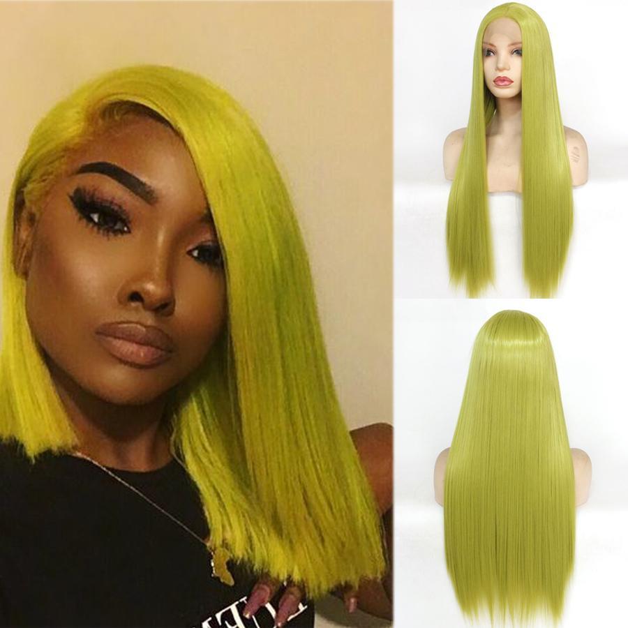 Verde recto peluca sintética sin cola del frente del cordón pelucas para las mujeres blancas Negro / sin cola sintética resistente al calor peluca diario del partido de Cosplay de la peluca