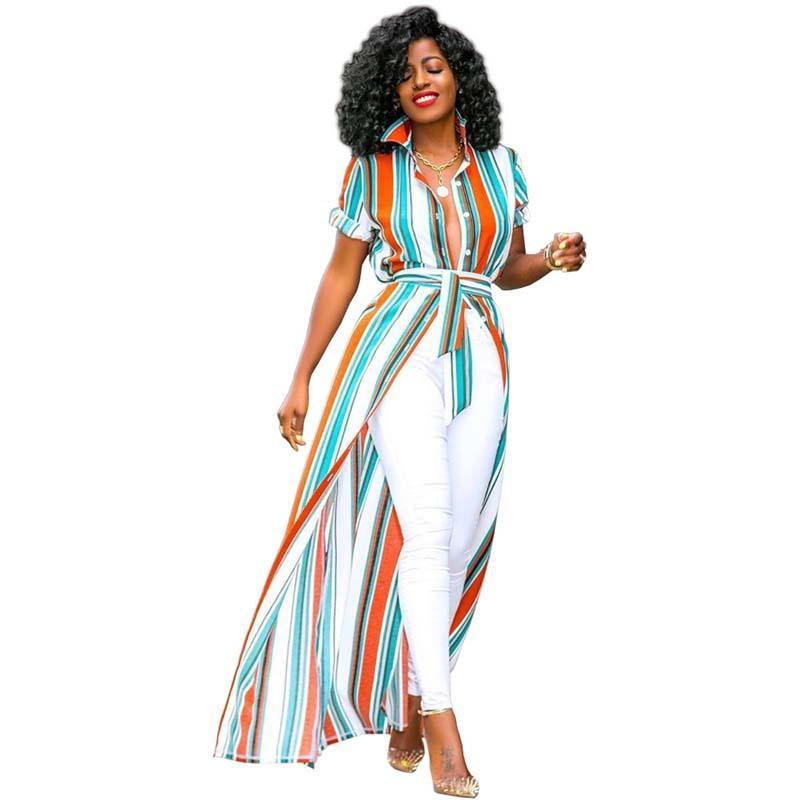 Afrikanische Kleidung Lässig Mehrfarbig Gestreift Gedruckt Langes Maxi Shirt Frauen Umlegekragen Knopf Gürtel Bluse Robe Boho Beach Femm