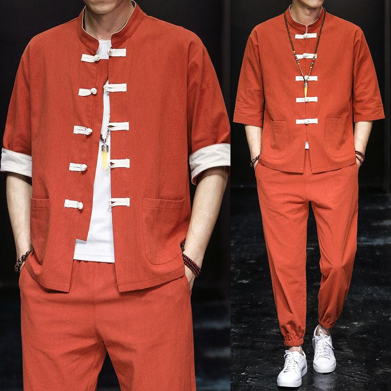 Chinese-style linen suit with contrasting colour cotton linen short-sleeved shirt men's shirt and breeches two-piece set