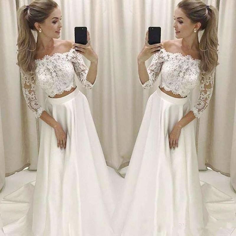 Simples Dois vestidos de casamento Boho Pieces 3/4 manga comprida Off vestidos de noiva Shpoulder Lace Satin Vestidos Bohemian Praia nupcial Robe De Mariee