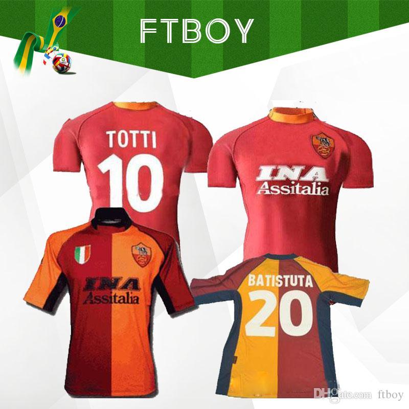 2000 2001 retro roma soccer jersey 00 01 TOTTI BATISTUTA Candela Montella chirt classic commemory Collection 2002 rome Maglia da calcio