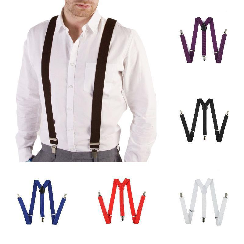 Adjustable Mens Kids White Braces Clip-on Elastic Trouser Suspenders Y-Back