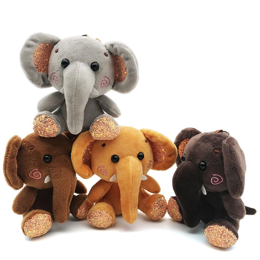 Elephant Plush Stuffed Mini Doll Pendant Keychain Key Chain Holder Bag Decor Animals Fluffy Bear Toy gifts Bag Keychain Key Hold