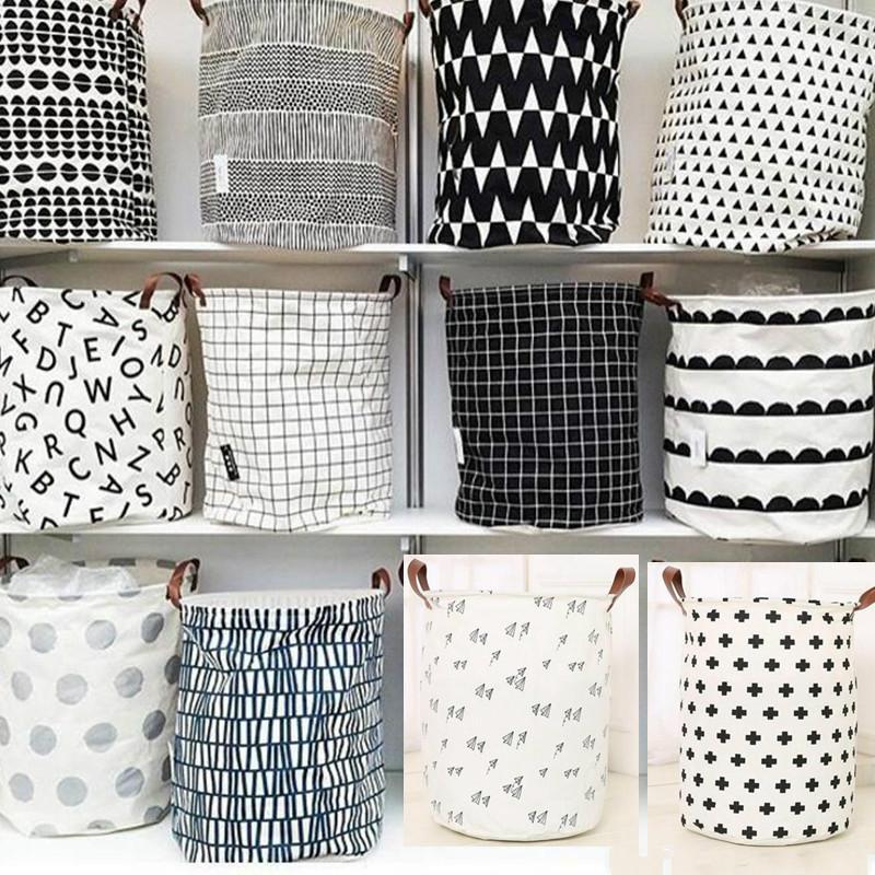 Bolsas Cestas INS almacenamiento papeleras habitación de los niños Juguetes de almacenamiento Cubo ropa del organizador de lavandería nave rápida bolsa de mano Organizador del palo del lunar de lavandería