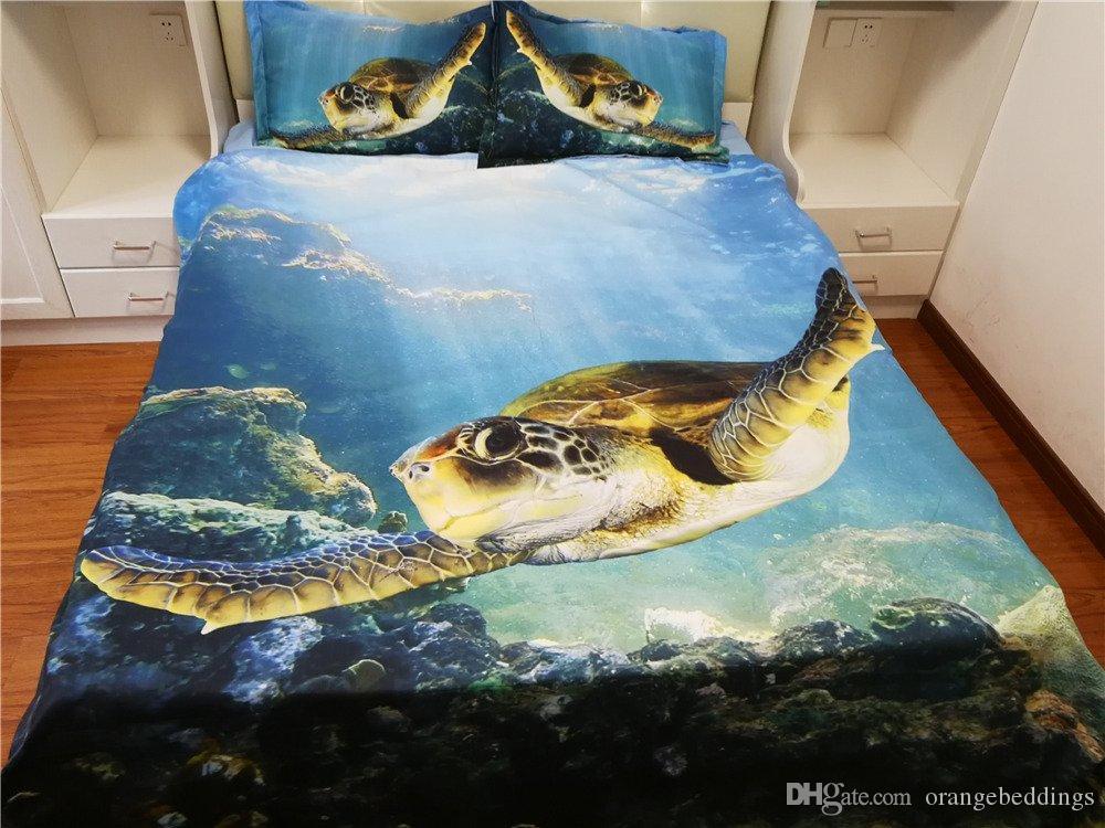 Underwater 3D Sea Turtle Bedding Hawaii 1 Capa de edredon 2 Travesseiros Shams Ocean Animals Fish Set Cama tartaruga capa de edredão rainha tartaruga colcha