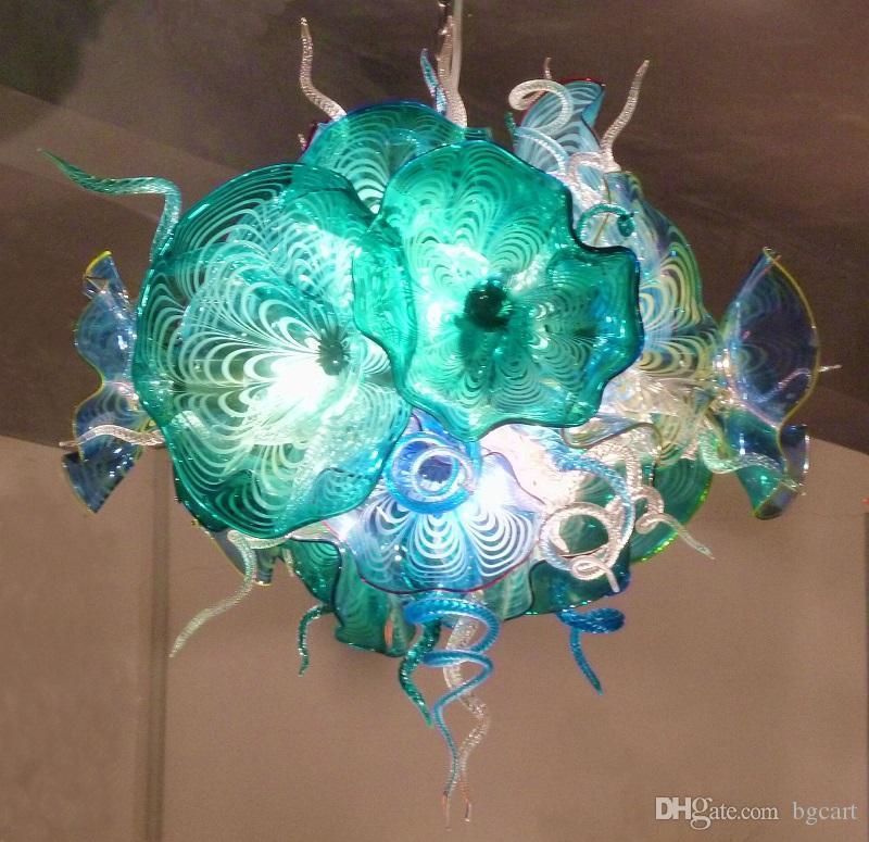 2019 تصميم جديد الإبداعية الحديثة الثريا أجزاء LED ضوء الديكور جميلة ملونة الزجاج المنفوخ إضاءة بسيطة التصميم فن الزجاج الثريا