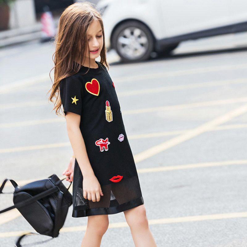 Crianças para adolescente menina verão casual dress 6 8 10 12 14 16 anos amor applique vestidos pretos crianças meninas roupas q190522