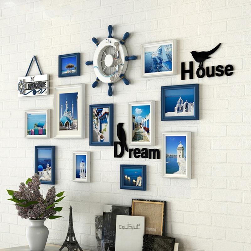 Mediterráneo Fotografía Decorar marco de fondo de la pared 11pieces foto de familia de la fama para el dormitorio de la sala portaretratos decoracion