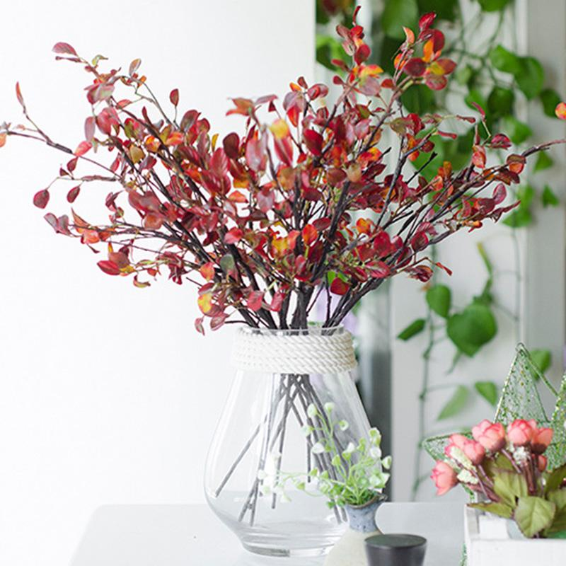 New Artificial Leaves Branch Red Silk Mini Hand Leaf for Home Decor Wedding Fake Plants Faux Fabric Foliage Room Decoration