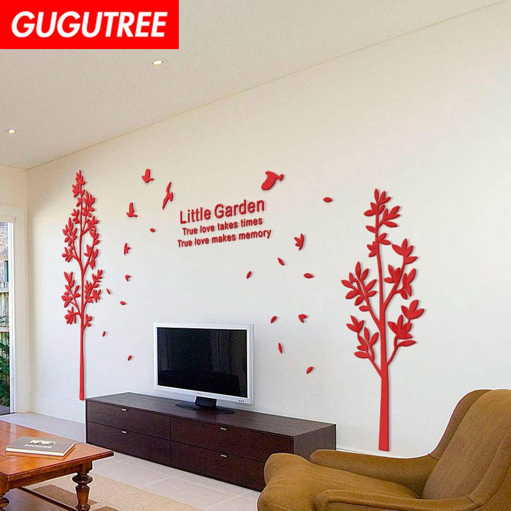 Decorate Home 3D trees bird cartoon mirror art wall sticker decoration Decals mural painting Removable Decor Wallpaper G-425