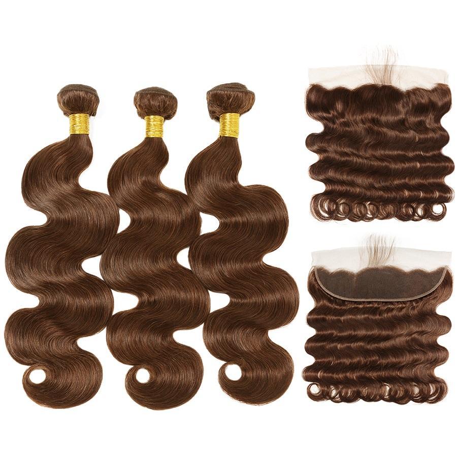 Bundles dei capelli umani del tessuto del corpo del corpo medio marrone # 4 con la chiusura frontale del pizzo 13x4 da vendere trasporto libero