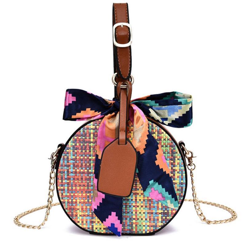 Borse Borsa da donna 2019 Beach Summer Rattan Fashion Ribbon Weave Bag Borsa da donna spalla Straw Dropship casual
