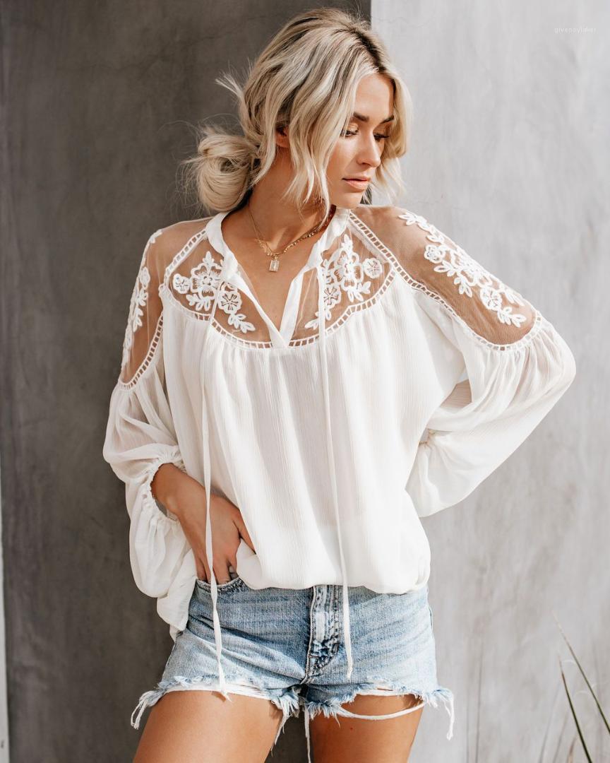 Dames ras du cou à manches longues T-shirts en vrac Couleur unie évider en mousseline de soie T-shirts Femme Vêtements Femmes Hauts Designer
