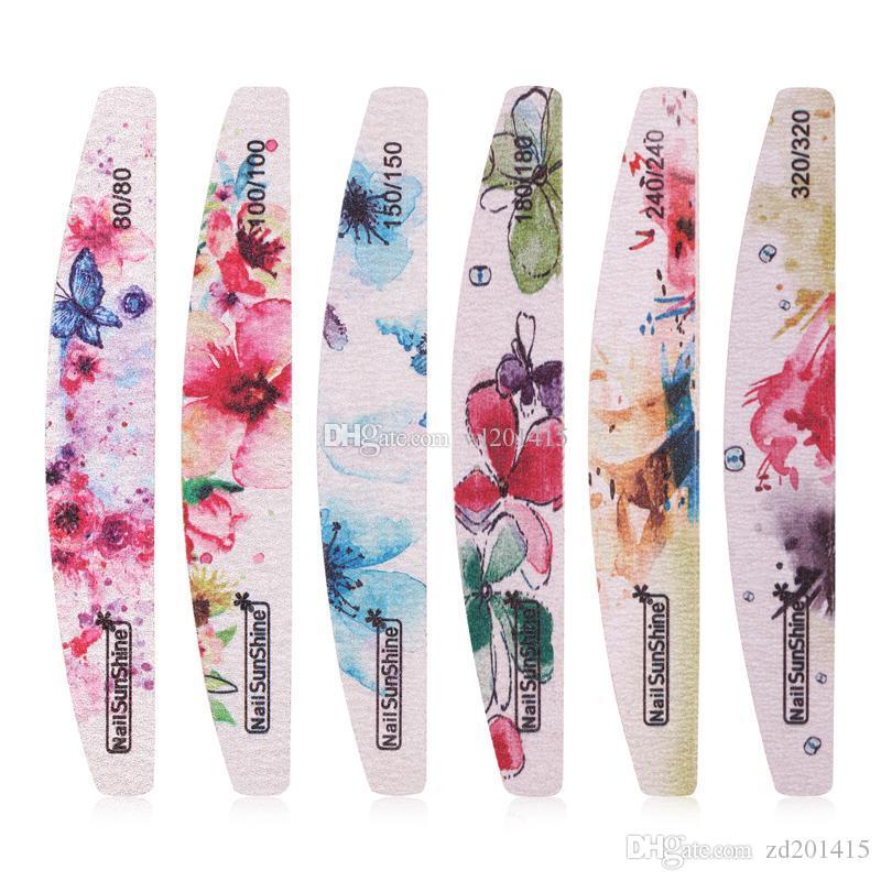 Tampon lime à ongles professionnelle fleurs Vernis à ongles Bloc Ponçage Outils ongles Art Pédicure Salon Sander Accessoires