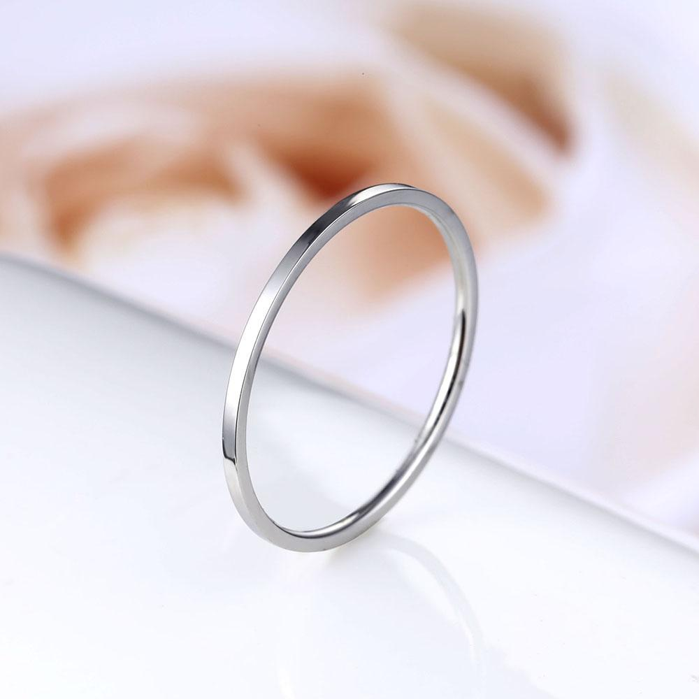 1 mm Delicate Thin Style Titanium Steel anti allergy Silver color Couple Rings Simple Fashion Rose Gold women engagement Ring
