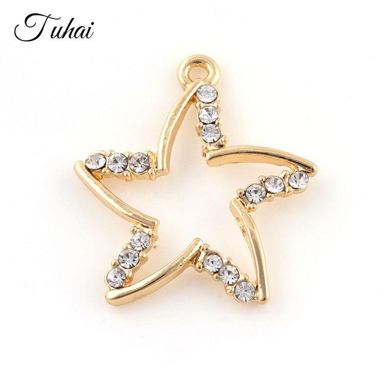 Charms 10pcs oco cristal de estrela do mar Metal Alloy Floating Dangle para colar de pingente Fazendo Cor Prata Jóias de Ouro