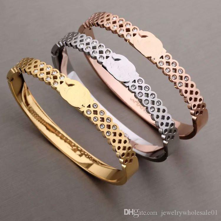 316l Stainless Steel Gold C Shape Open Cuff Bangle Crystal