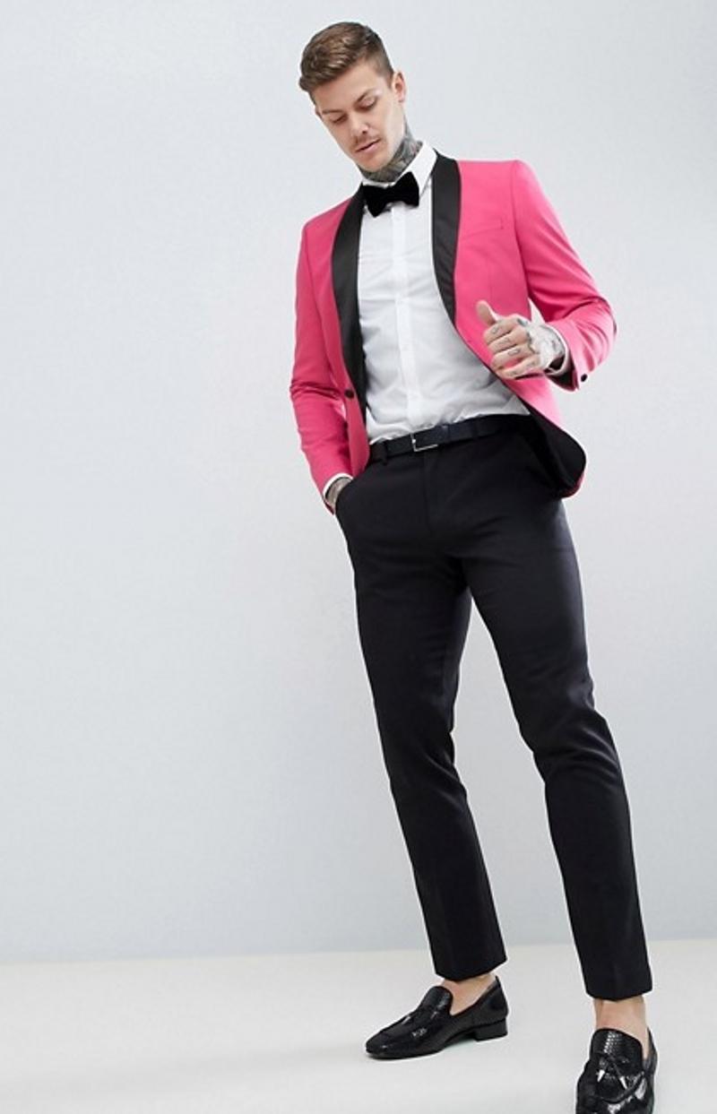 Rose Red Men Wedding Tuxedos Black Pants Lapel Groom Tuxedos Excellent Men Blazer 2 Piece Suit Prom/Dinner Jacket(Jacket+Pants)