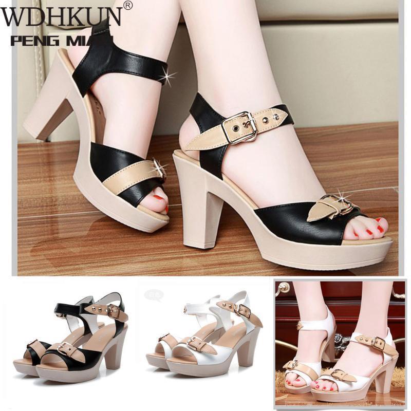 WDHKUN Женские сандалии дамы Римский рыбий рот с толстым каблуком сандалии пряжка высокий каблук дикие летние женские повседневные туфли