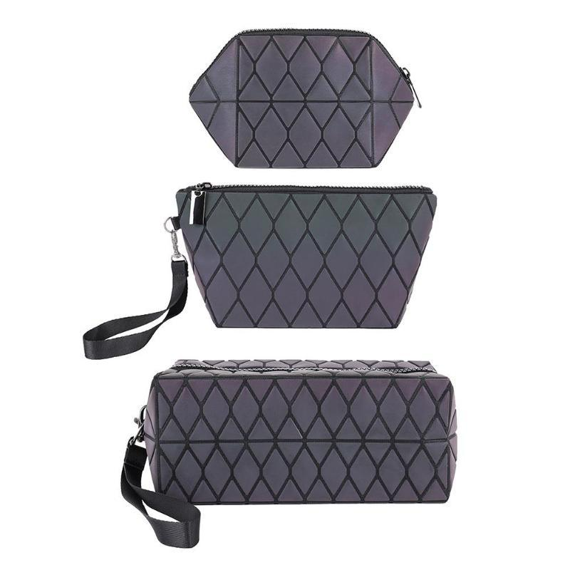 Cosmetic Case Makeup Beauty Bags Women Irregular Geometric Lattice Makeup Bag Luminous Folding Travel Storage Cosmetics Packs
