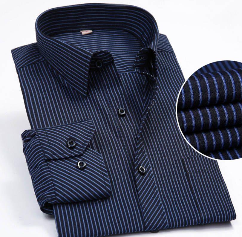 2020 جديد بالاضافة الى حجم كبير رجال الأعمال عارضة قميص بأكمام طويلة كلاسيك مخطط اللباس ذكر الاجتماعية قميص بنفسجي أزرق