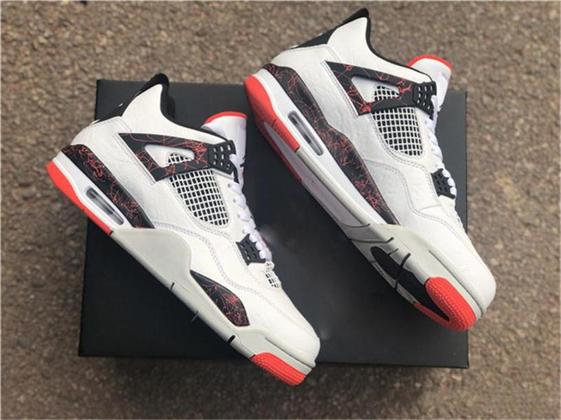 2019 Release 4 IV Retro Pale Citron pour les hommes de basket-ball Chaussures Blanc Noir brillant Crimson 308497-116 Authentic Sports Chaussures avec la boîte