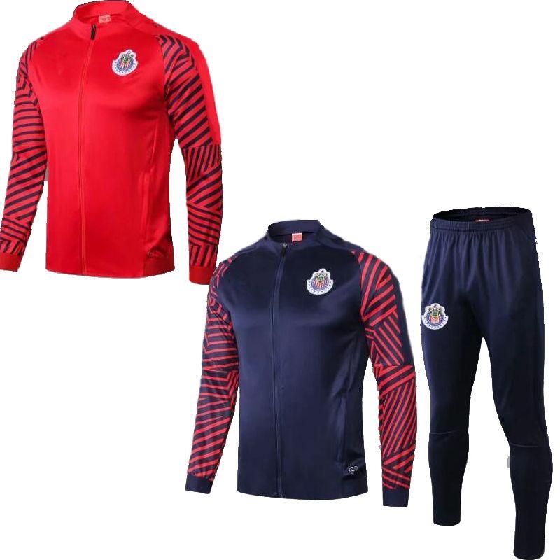 2019 Мексиканский клуб Chivas de Guadalajara красно-синий футбольный спортивный костюм, пиджаки, костюм camisas de futebol футболка с застежкой-молнией