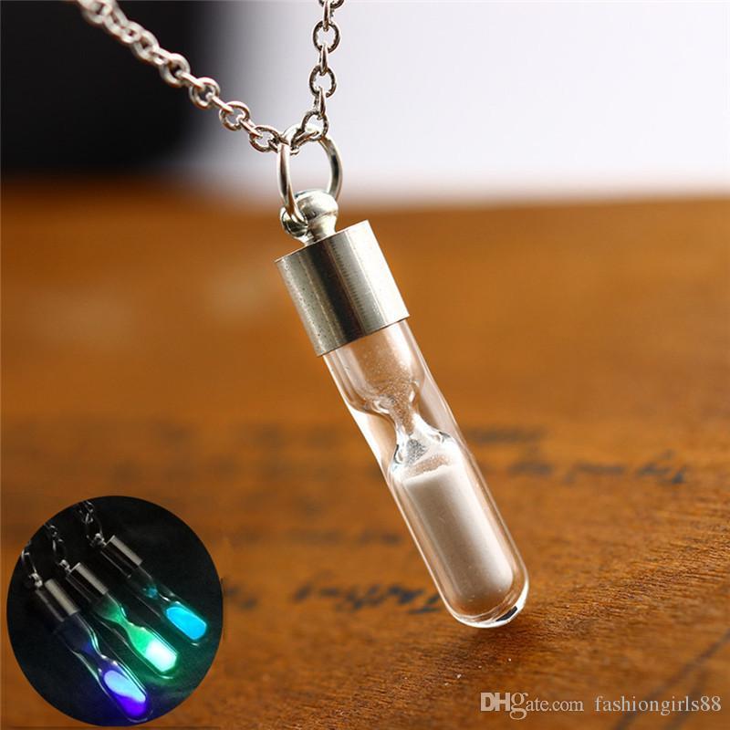 Мода Luminous стекла Фосфор бутылки Hourglass кулон ожерелья Drift Желающих бутылки Стеклянные трубки Шарм ожерелье для женщин подарка ювелирных изделий