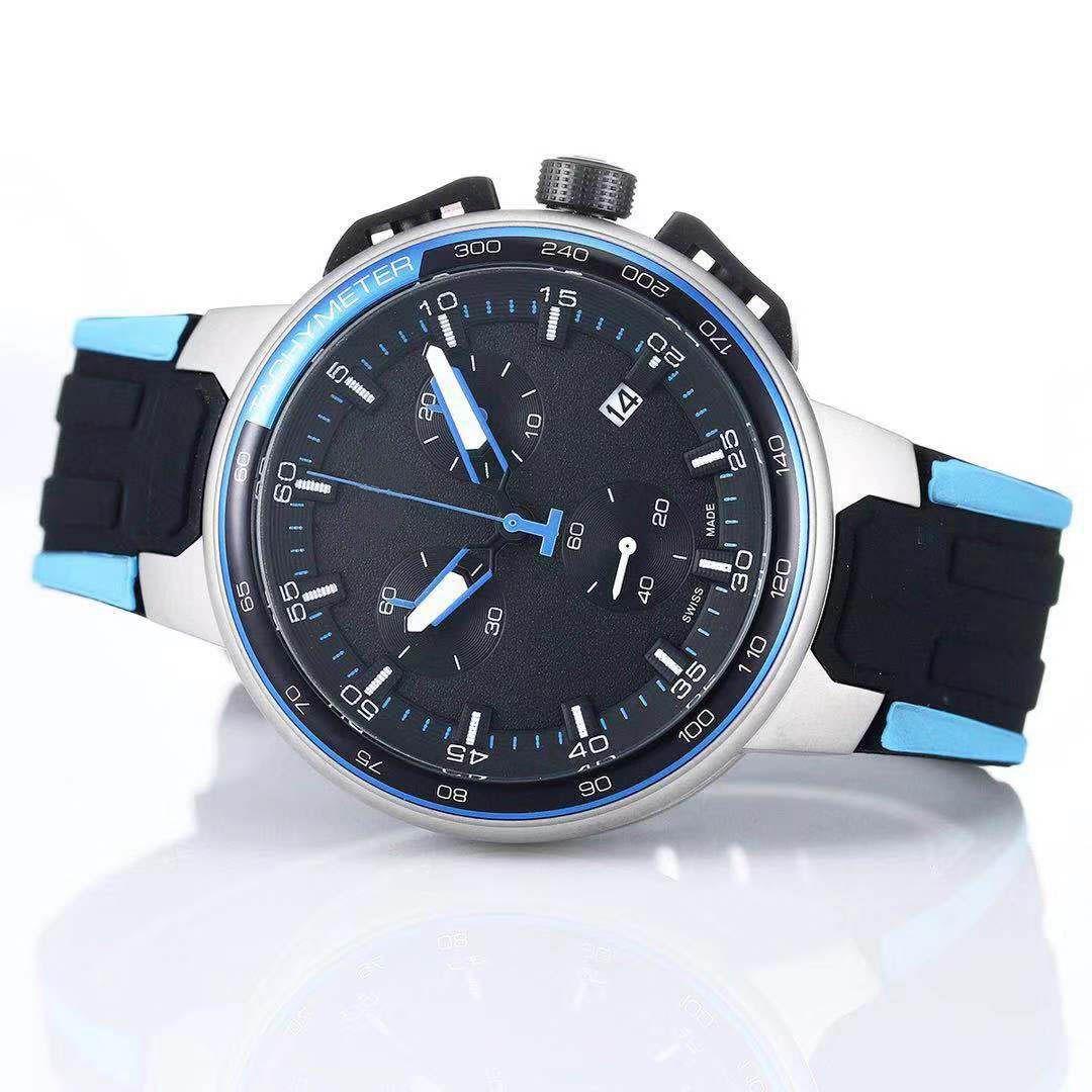 Serin Stil T-Yarış Dokunmatik Chronograph Kuvars Mavi Erkekler Saatı T048 Carson Erkek Izle Geleneği Kırmızı 1853 Kauçuk Kayış Saatler